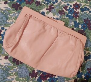 Vintage Pink Leather Purse Genuine Italian Leather